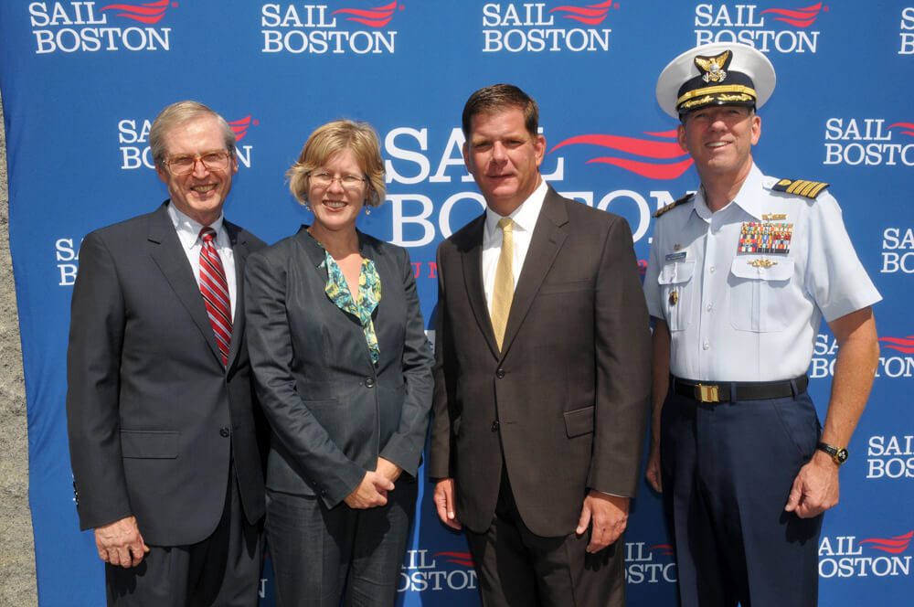 Boston Mayor Martin J. Walsh joins Michael Mooney, Chairman of the Sail Boston, Inc. Board of Directors, Deb Hadden, Massport's Port Director, and Capt. John O'Connor, Boston Sector Commander and Captain of the Port