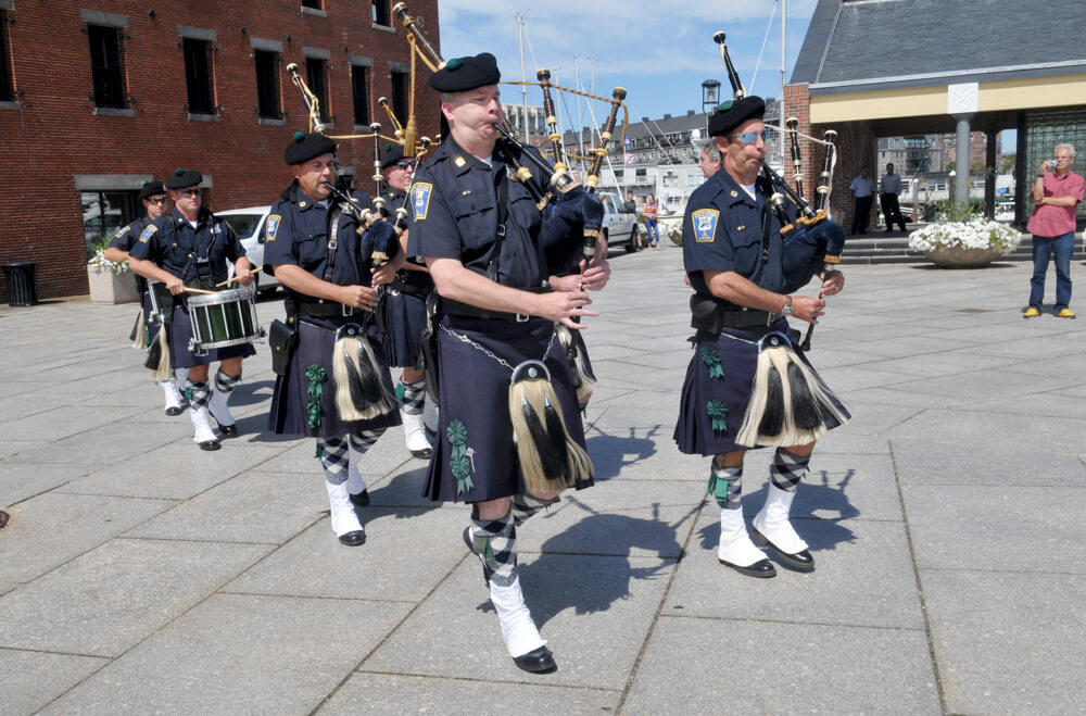 Boston Police bagpipers