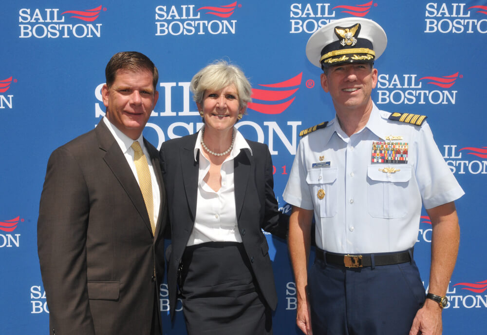Boston Mayor Martin J. Walsh joined by Dusty Rhodes, President of Conventures, Inc., and Capt. John O'Connor